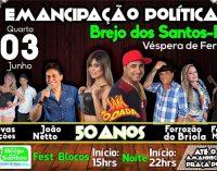 PROGRAMAÇÃO DAS FESTIVIDADES DE 50 ANOS DE EMANCIPAÇÃO POLÍTICA DE BREJO DOS SANTOS-PB