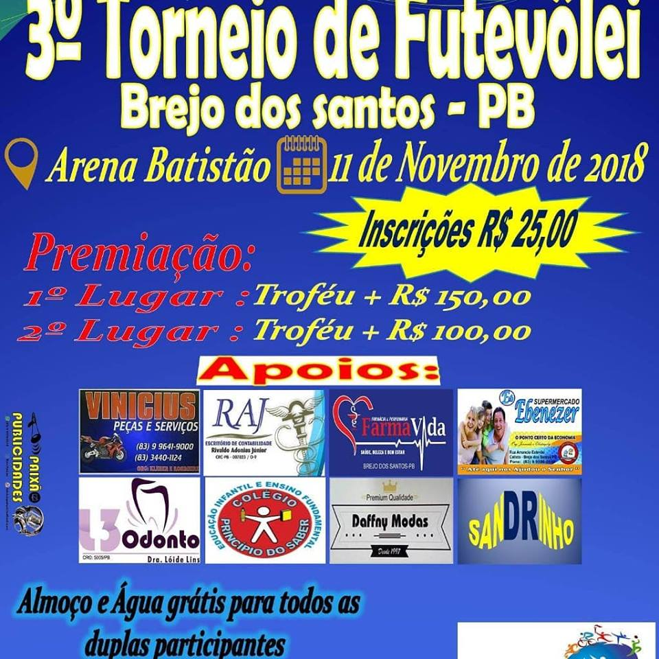 Vem ai em Brejo dos Santos o terceiro torneio de futevôlei na arena Batistão