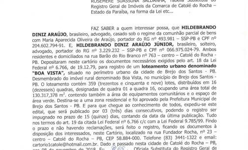 3ª republicação Edital de Loteamento Urbano