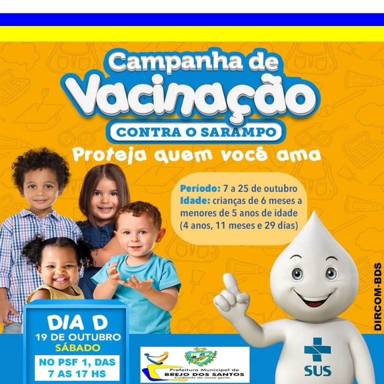ATENÇÃO: A Secretaria municipal de Saúde convoca para vacinação contra o sarampo