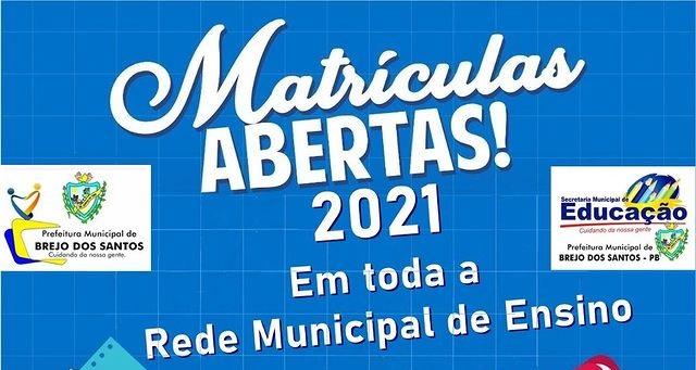 Matrículas para o ano letivo 2021