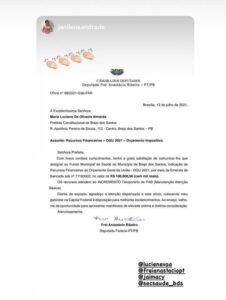 Read more about the article Emenda do deputado Frei Anastácio destina 100 mil reais para o Fundo Municipal de Saúde de Brejo dos Santos-PB