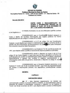 Read more about the article DECRETO MUNICIPAL 024/2014 REGULAMENTA O ACESSO A INFORMAÇÃO